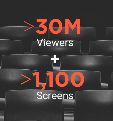 More than 30 million viewers on over 1,100 screens
